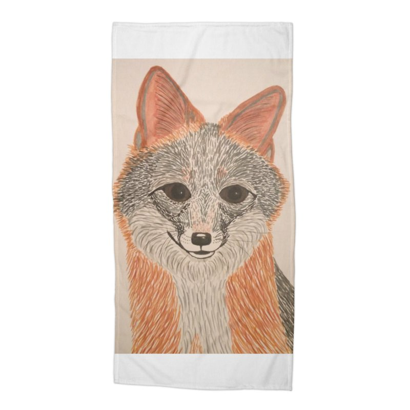 Grey Fox Accessories Beach Towel by Whimsical Wildlife Wares