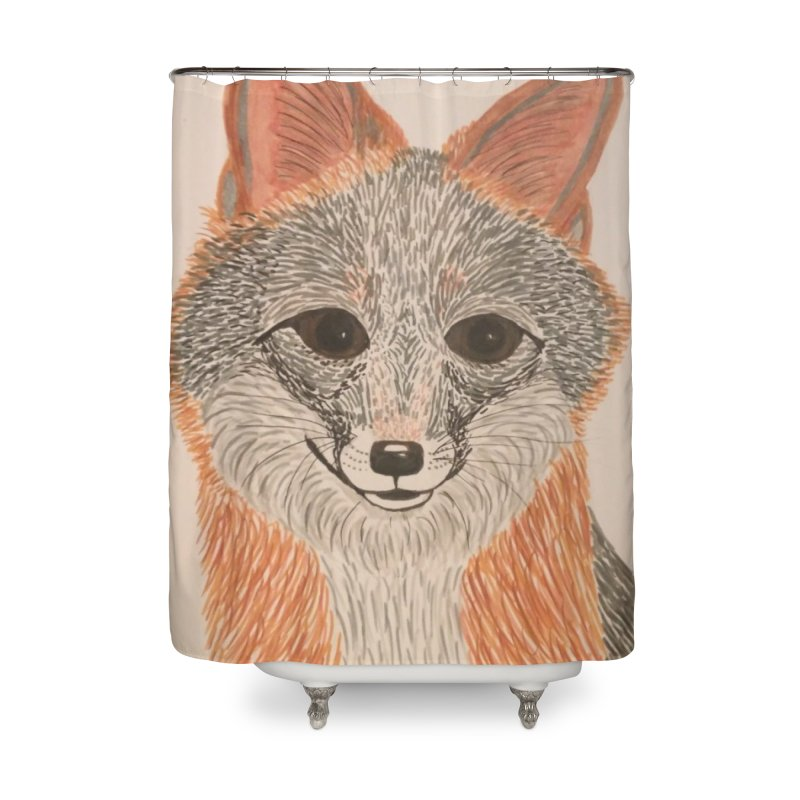 Grey Fox Home Shower Curtain by Whimsical Wildlife Wares