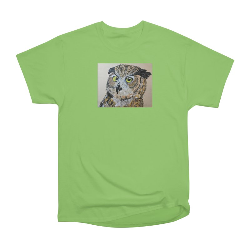 Great Horned Owl Women's Heavyweight Unisex T-Shirt by Whimsical Wildlife Wares