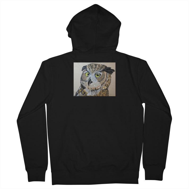 Great Horned Owl Men's Zip-Up Hoody by Whimsical Wildlife Wares