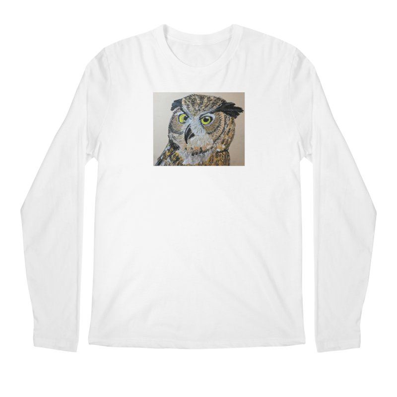 Great Horned Owl Men's Longsleeve T-Shirt by Whimsical Wildlife Wares