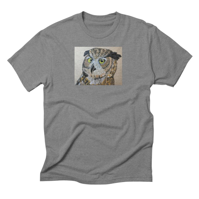 Great Horned Owl Men's Triblend T-Shirt by Whimsical Wildlife Wares