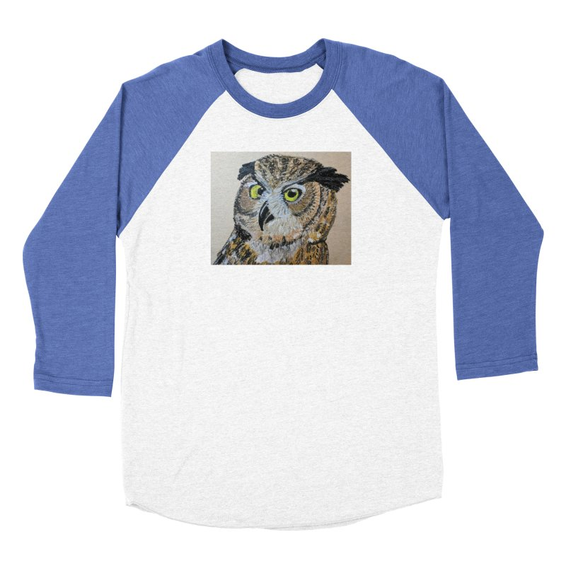Great Horned Owl Women's Baseball Triblend T-Shirt by Whimsical Wildlife Wares