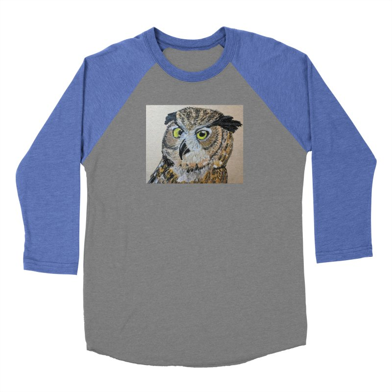 Great Horned Owl Men's Baseball Triblend T-Shirt by Whimsical Wildlife Wares