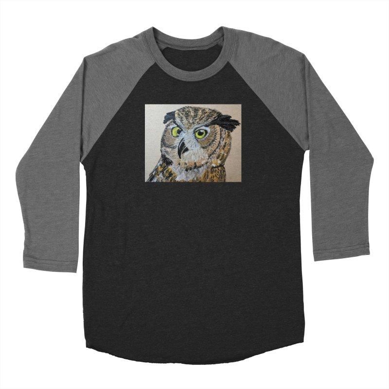 Great Horned Owl Men's Baseball Triblend T-Shirt by Whimsical Wildlife Wares