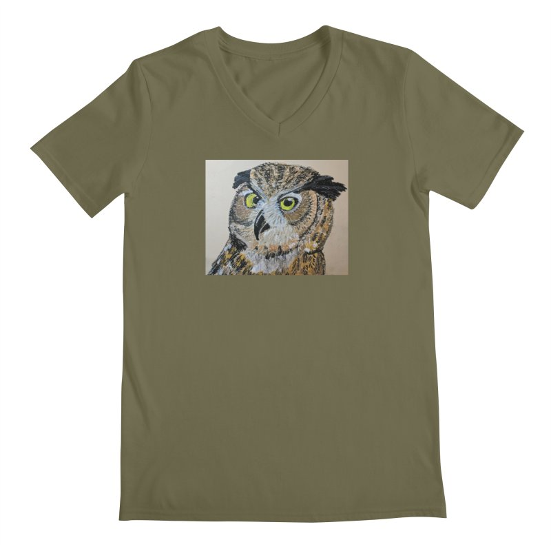 Great Horned Owl Men's V-Neck by Whimsical Wildlife Wares
