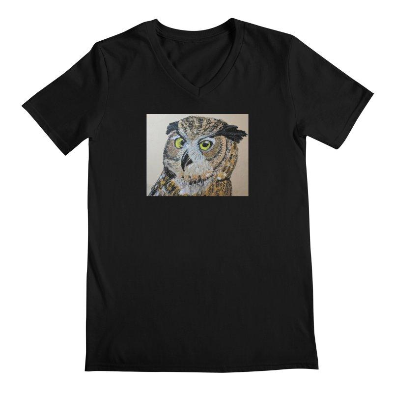 Great Horned Owl Men's V-Neck by Whimsical Wildlife Wares