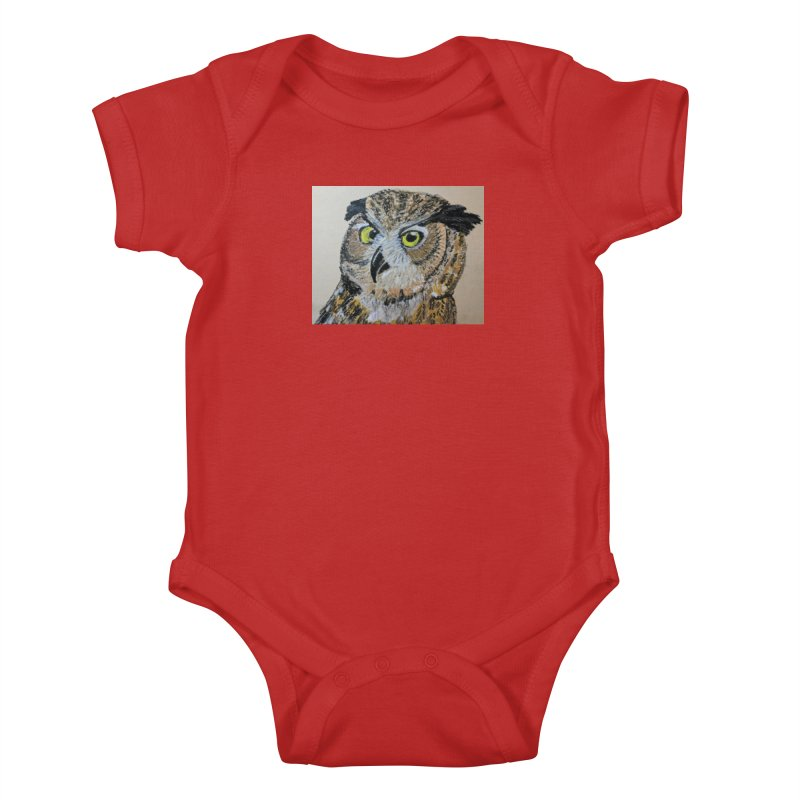 Great Horned Owl Kids Baby Bodysuit by Whimsical Wildlife Wares