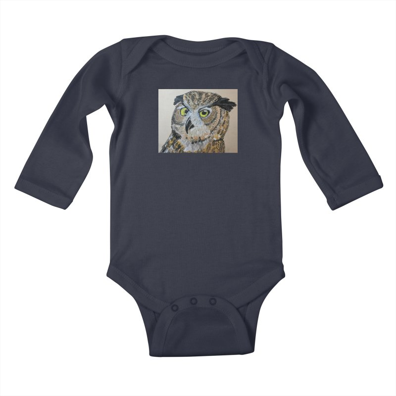 Great Horned Owl Kids Baby Longsleeve Bodysuit by Whimsical Wildlife Wares