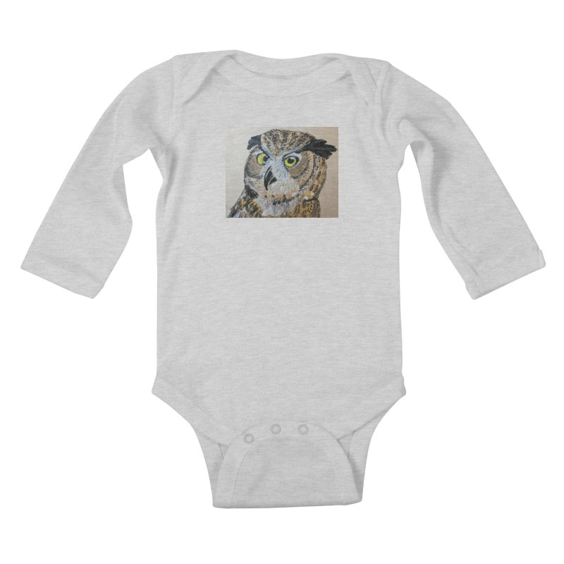 Great Horned Owl Kids Baby Longsleeve Bodysuit by Whimsical Wildlife Wares