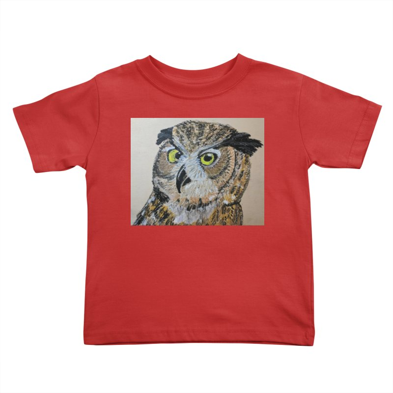 Great Horned Owl Kids Toddler T-Shirt by Whimsical Wildlife Wares