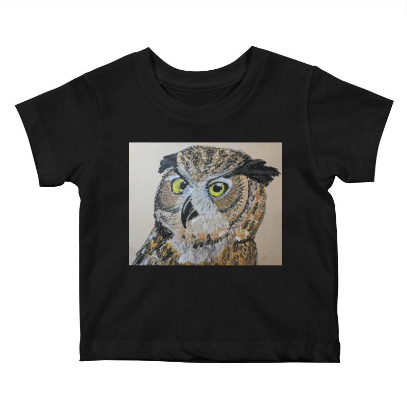 Great Horned Owl Kids Baby T-Shirt by Whimsical Wildlife Wares