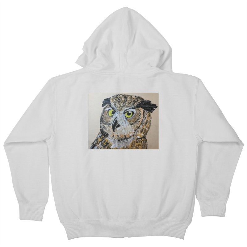 Great Horned Owl Kids Zip-Up Hoody by Whimsical Wildlife Wares