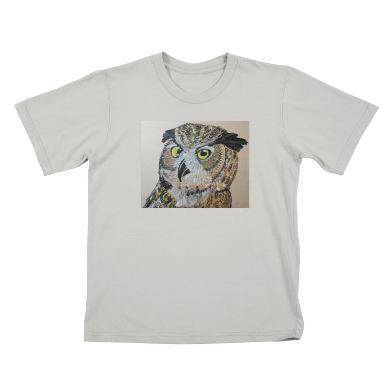 Great Horned Owl Kids T-shirt by Whimsical Wildlife Wares