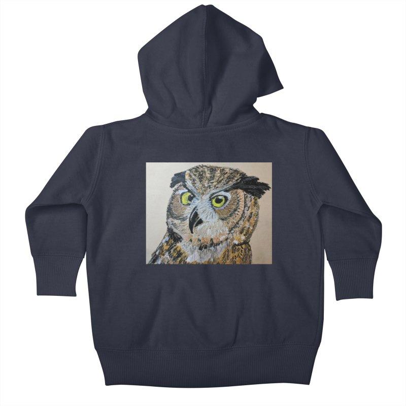 Great Horned Owl Kids Baby Zip-Up Hoody by Whimsical Wildlife Wares