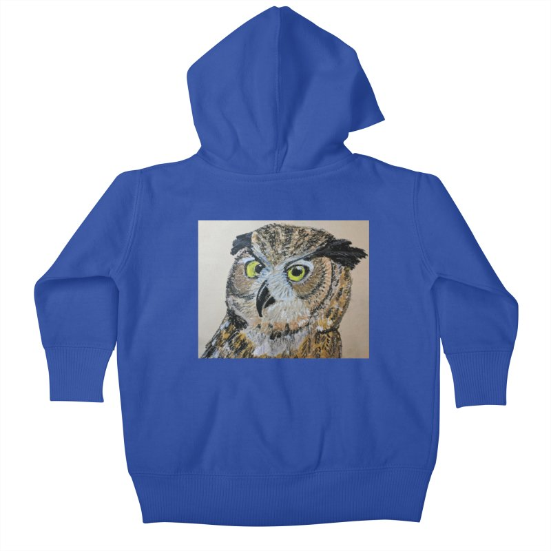 Great Horned Owl Kids Baby Zip-Up Hoody by Whimsical Wildlife Wares