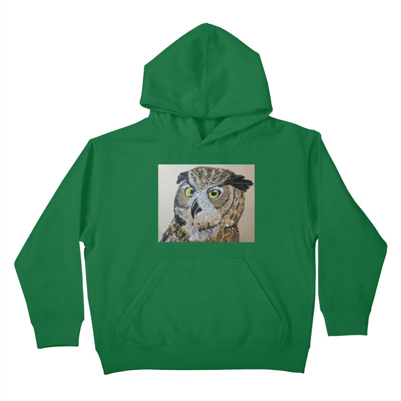 Great Horned Owl Kids Pullover Hoody by Whimsical Wildlife Wares