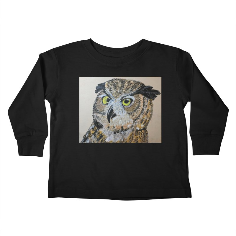Great Horned Owl Kids Toddler Longsleeve T-Shirt by Whimsical Wildlife Wares