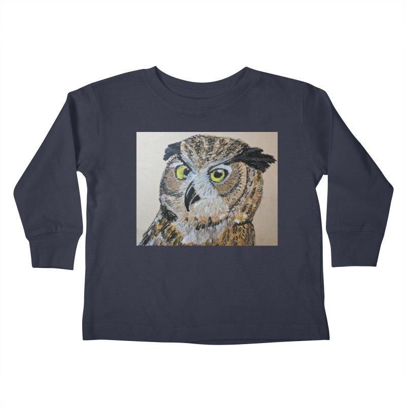 Great Horned Owl Kids Toddler Longsleeve T-Shirt by Whimsical Wildlife Wares