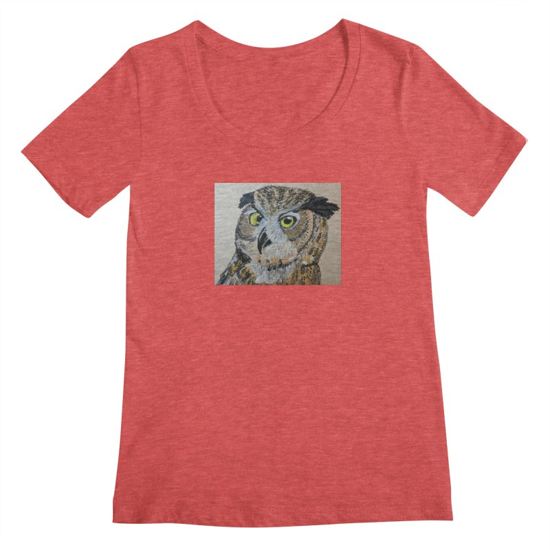 Great Horned Owl Women's Scoopneck by Whimsical Wildlife Wares
