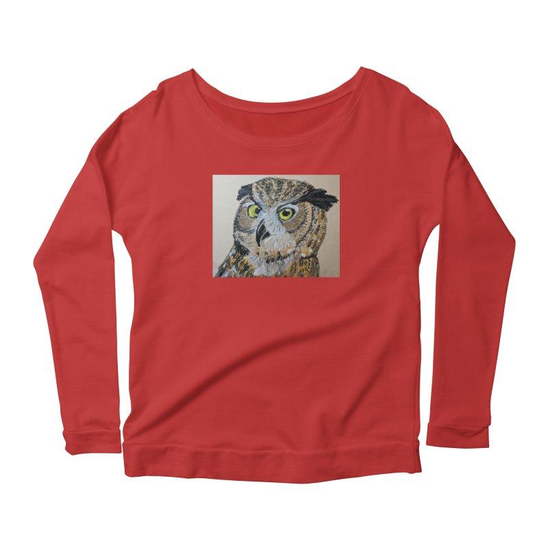 Great Horned Owl Women's Longsleeve Scoopneck  by Whimsical Wildlife Wares