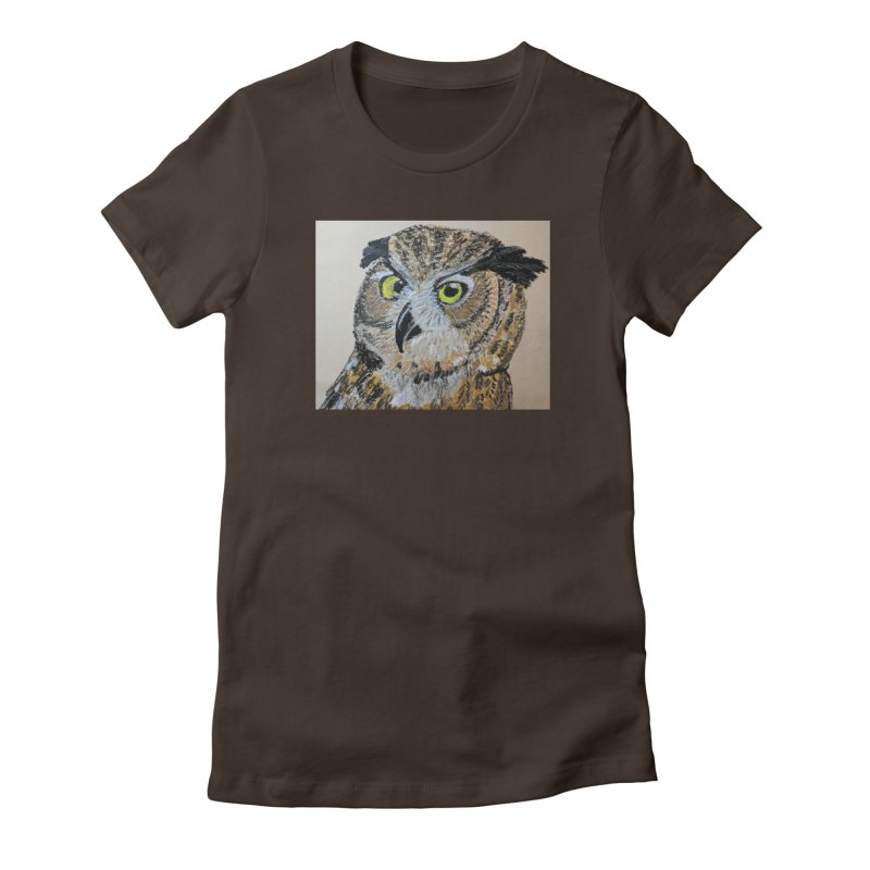 Great Horned Owl Women's Fitted T-Shirt by Whimsical Wildlife Wares