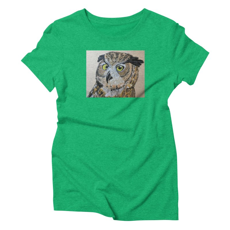 Great Horned Owl Women's Triblend T-Shirt by Whimsical Wildlife Wares