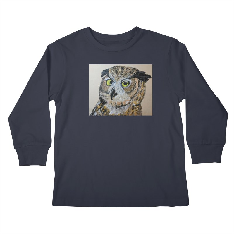 Great Horned Owl Kids Longsleeve T-Shirt by Whimsical Wildlife Wares
