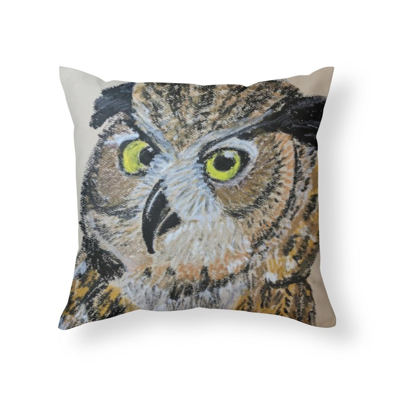 Great Horned Owl Home Throw Pillow by Whimsical Wildlife Wares
