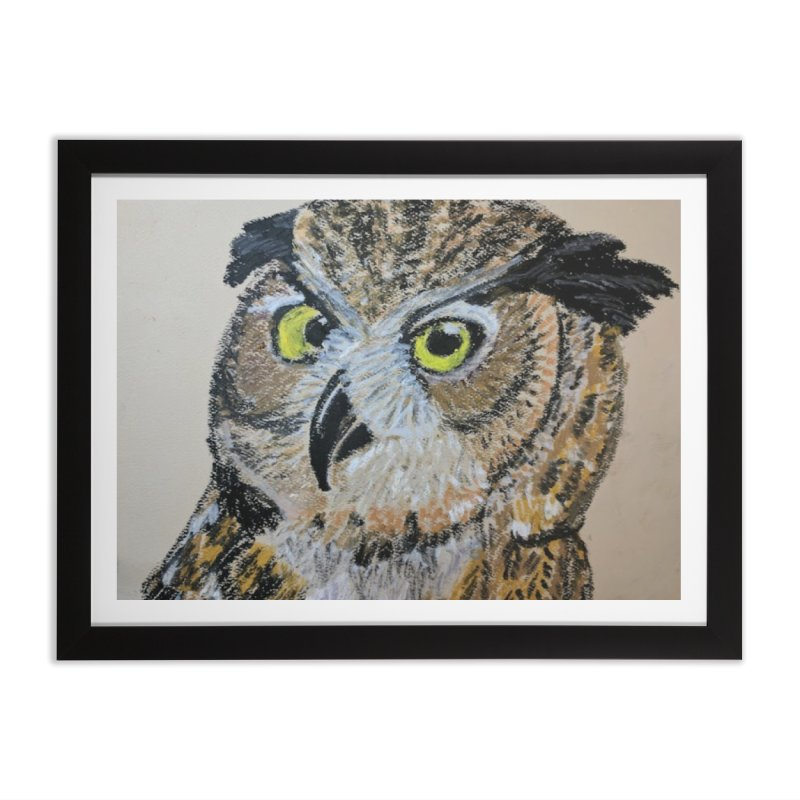 Great Horned Owl Home Framed Fine Art Print by Whimsical Wildlife Wares