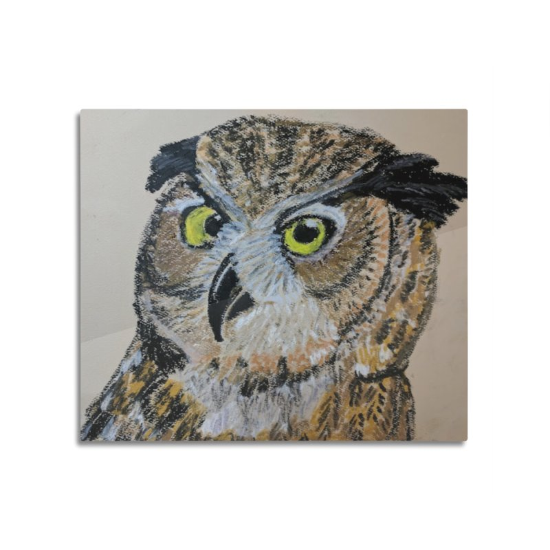 Great Horned Owl Home Mounted Aluminum Print by Whimsical Wildlife Wares