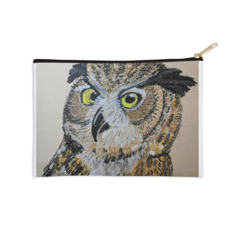 Great Horned Owl Accessories Zip Pouch by Whimsical Wildlife Wares