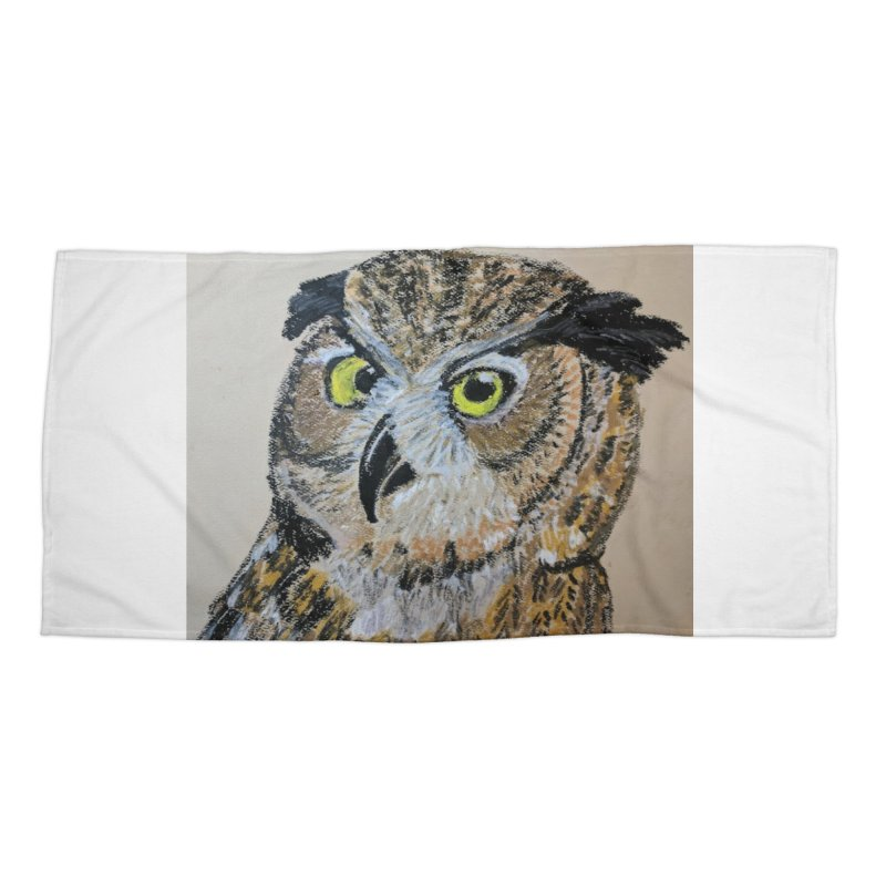 Great Horned Owl Accessories Beach Towel by Whimsical Wildlife Wares