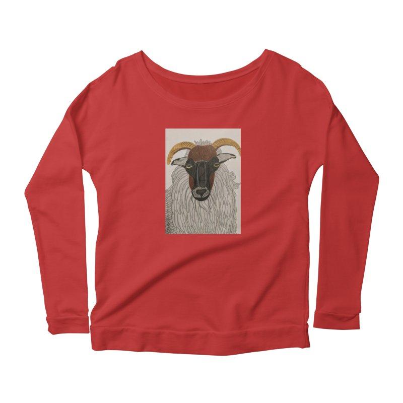 Irish sheep Women's Longsleeve Scoopneck  by Whimsical Wildlife Wares