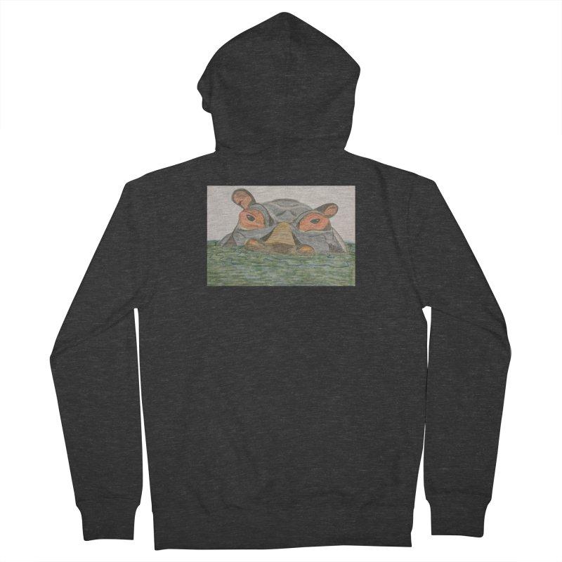 Hippo Women's Zip-Up Hoody by Whimsical Wildlife Wares