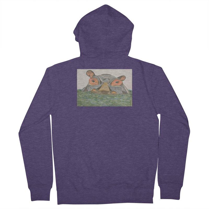 Hippo Men's Zip-Up Hoody by Whimsical Wildlife Wares