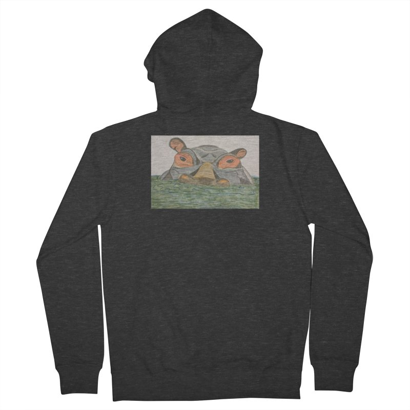 Hippo Men's Zip-Up Hoody by Whimsical Wildlife Wares