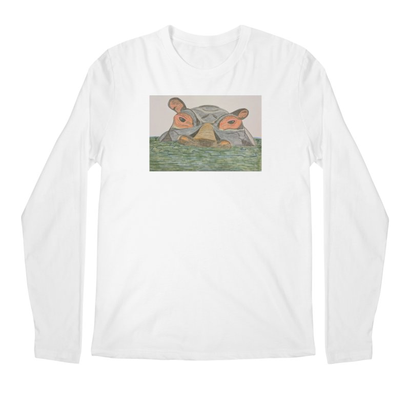 Hippo Men's Longsleeve T-Shirt by Whimsical Wildlife Wares