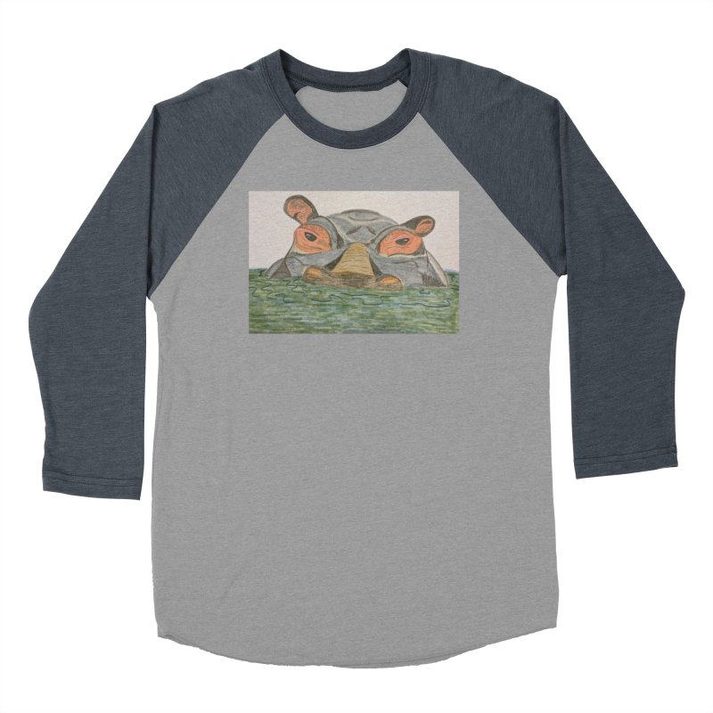 Hippo Men's Baseball Triblend T-Shirt by Whimsical Wildlife Wares