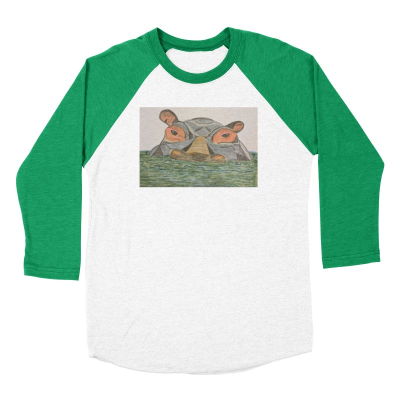 Hippo Men's Baseball Triblend T-Shirt by Whimsical Wildlife Wares