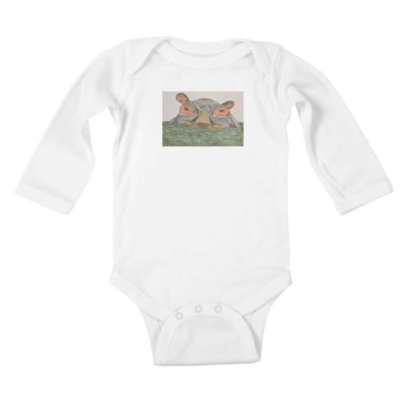 Hippo Kids Baby Longsleeve Bodysuit by Whimsical Wildlife Wares