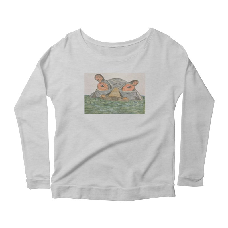 Hippo Women's Longsleeve Scoopneck  by Whimsical Wildlife Wares
