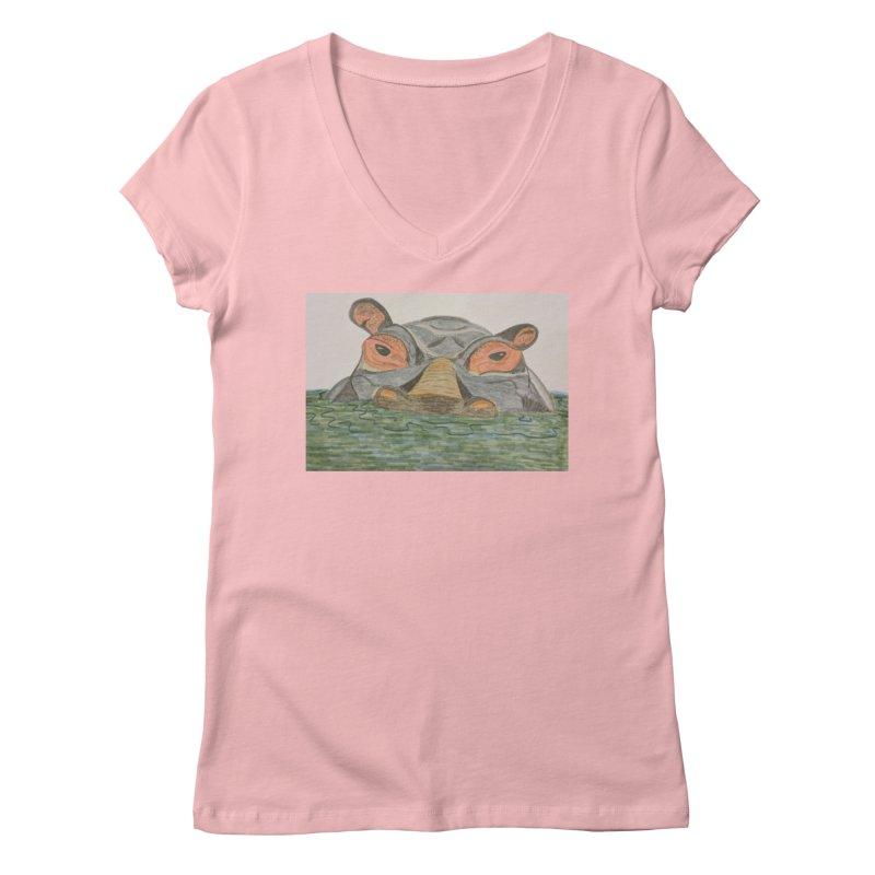 Hippo Women's V-Neck by Whimsical Wildlife Wares