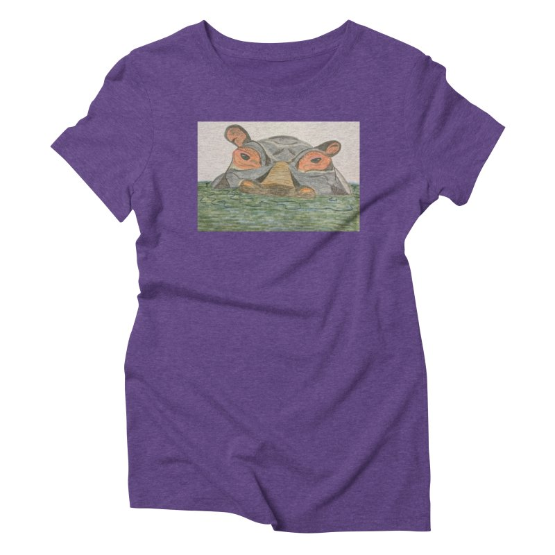 Hippo Women's Triblend T-Shirt by Whimsical Wildlife Wares