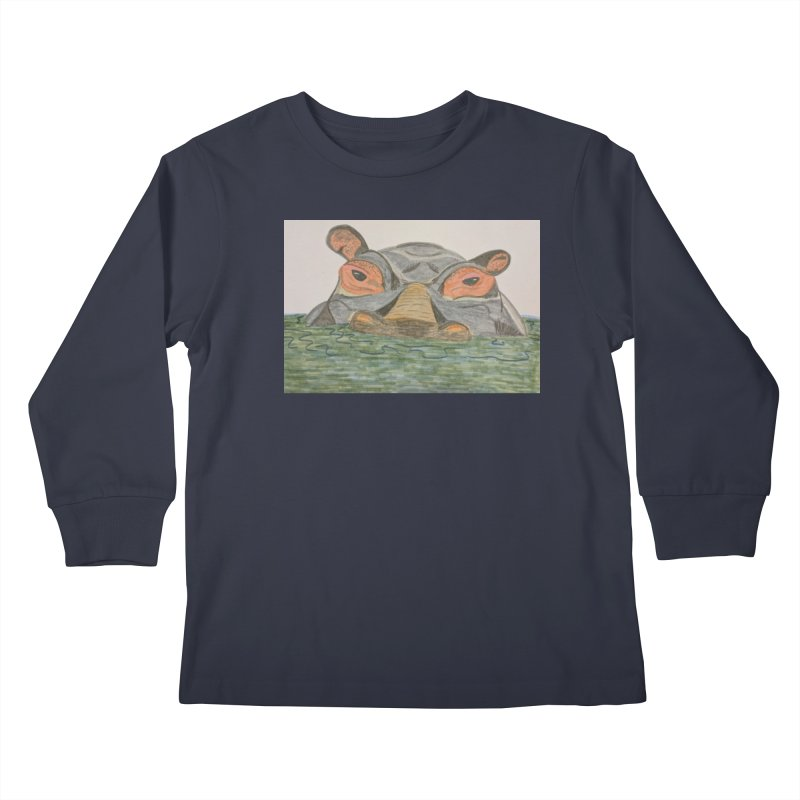 Hippo Kids Longsleeve T-Shirt by Whimsical Wildlife Wares
