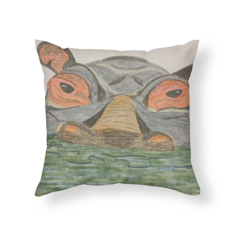 Hippo Home Throw Pillow by Whimsical Wildlife Wares