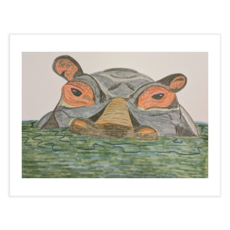Hippo Home Fine Art Print by Whimsical Wildlife Wares