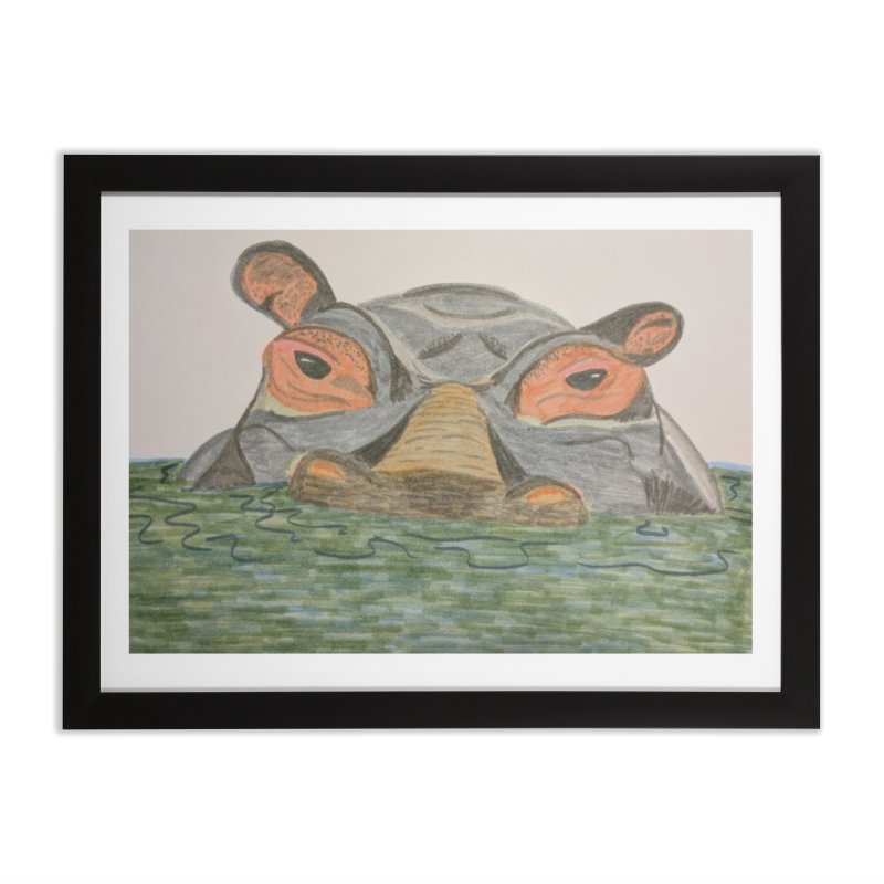 Hippo Home Framed Fine Art Print by Whimsical Wildlife Wares