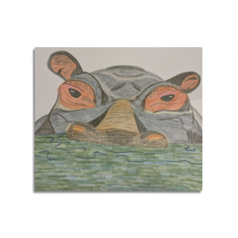 Hippo Home Mounted Acrylic Print by Whimsical Wildlife Wares