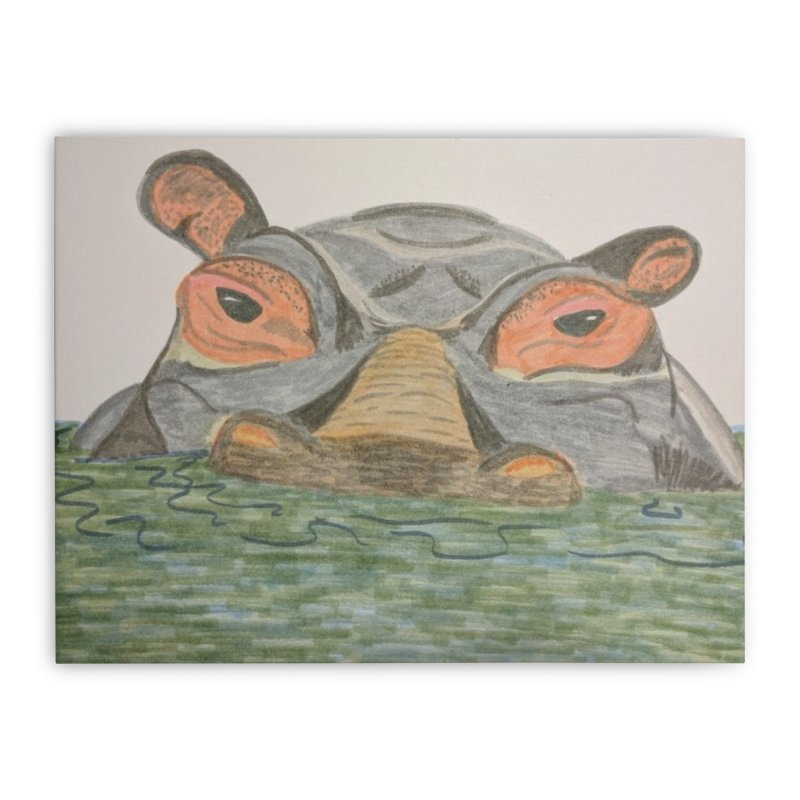 Hippo Home Stretched Canvas by Whimsical Wildlife Wares